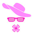 women accessories pink hat glasses and bow vector image