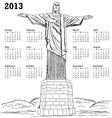 cristo redentor 2013 calendar vector image