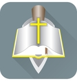 Opened Bible with a yellow cross vector image