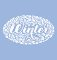 winter lettering decorated with floral vector image