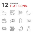 12 shower icons vector image vector image
