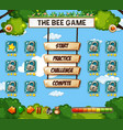 a bee game template vector image vector image