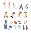 Baseball cartoon retro style icons set
