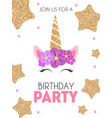 birthday party invitation with cute unicorn and vector image vector image