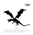 black silhouette dragon on white background vector image