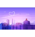 Boy and girl look over cityscape Romantic day vector image vector image