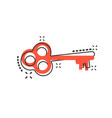 cartoon key icon in comic style secret keyword vector image vector image