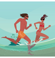 Couple running in shallow water vector image