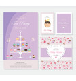 Cute templates with cupcakes stand and sweets vector image