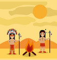 desert landscape and two native american indian vector image vector image