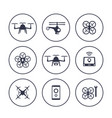 drones copters quadrocopters icons over white vector image vector image