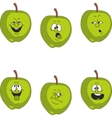 Emotion cartoon green apple set 017 vector image vector image