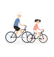 father and daughter riding bicycles little girl vector image