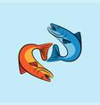 fish logo design template vector image vector image