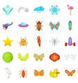 flank icons set cartoon style vector image