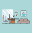 Flat minimalistic style Creative office with vector image