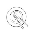 fork and knife on empty plate linear sketch top vector image vector image