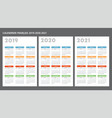 french calendar 2019-2020-2021 template vector image
