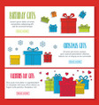 gifts doodle three horizontal banners vector image vector image