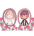 girl and boy marriage pictures with heart plants vector image vector image
