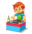 girl cooking to make delicious food vector image vector image
