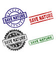 grunge textured save nature seal stamps vector image vector image