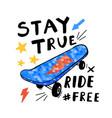 hand drawing skateboards and handwriting slogan vector image