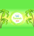 hello summer time banner in round frame vector image vector image