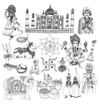 India sketch set vector image