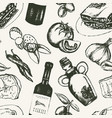 italian food - black and white hand drawn seamless vector image vector image