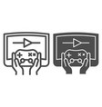 joystick in hands line and glyph icon joypad in vector image vector image