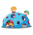kids playig at playground dome climber vector image vector image