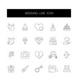 Line icons set wedding pack