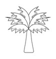 line palm tree with leaves and vegetation vector image