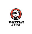 logo waiter bear mascot cartoon style vector image vector image
