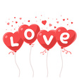 lovely red balloons in the form of hearts vector image
