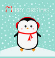 merry christmas penguin on snowdrift red vector image vector image