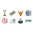 money and finance icons in set collection for vector image