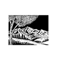 Mountain scene with tree in foreground vector image vector image