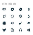music icons set with earphone tuner earmuff and vector image vector image