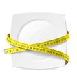Plate with measuring tape vector image vector image