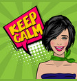 pop art cartoon comic sexy woman say keep calm vector image vector image