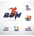 running people logo template stylized symbols vector image vector image