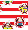 seamless background cartoon clown on red and vector image vector image