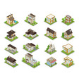 suburbia buildings icons set vector image