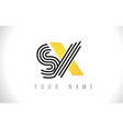 sx black lines letter logo creative line letters vector image vector image