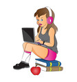 teen girl using laptop and headphones sitting on vector image