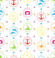 Travel Seamless Pattern with Colorful Elements vector image vector image