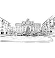 trevi fountain rome italy hand drawn sketch vector image