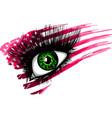 usa flag in beautiful female eye vector image vector image